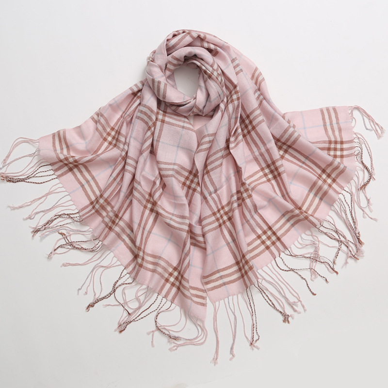 2018 Autumn Winter Female Wool Plaid Scarf Women Cashmere Scarves Wide Lattices Long Shawl Wrap Blanket Warm Tippet Drop Ship