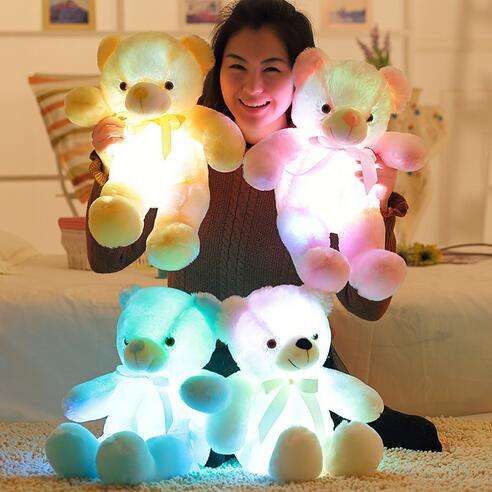 Creative Glowing Teddy Bear Inductive Luminous LED Plush Toys Colorful Stuffed Teddy Bear Great Gift for Children 30/50cm fancytrader biggest in the world pluch bear toys real jumbo 134 340cm huge giant plush stuffed bear 2 sizes ft90451
