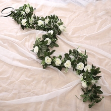 silk artificial rose vine hanging flowers for wall decoration rattan fake plants leaves garland romantic wedding home