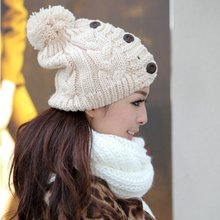 Free Shipping 2013 New Korean Women Warm Winter Hats For Gilrs Jonadab Button Twisted Knitted Hat Ladies Warm Cap 2013 Winter