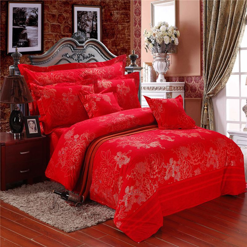 Nice Wedding Bedding Sets,cotton Jacquard Satin Embroidered Comforter  Sets,festive Red Bed Sheets Marry Romantic Love Duvet Cover In Bedding Sets  From Home ...