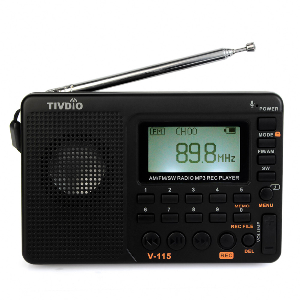 TIVDIO V-115 Radio FM/AM/SW World Band Receiver MP3 Player REC Recorder With Sleep Timer Black FM Radio Recorder F9205A tivdio portable fm radio dsp fm stereo mw sw lw portable radio full band world receiver clock