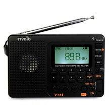 TIVDIO V-115 Radio FM/AM/SW Mundial Band Receptor Reproductor de MP3 FM REC Grabadora con Temporizador Negro Grabadora de Radio F9205A