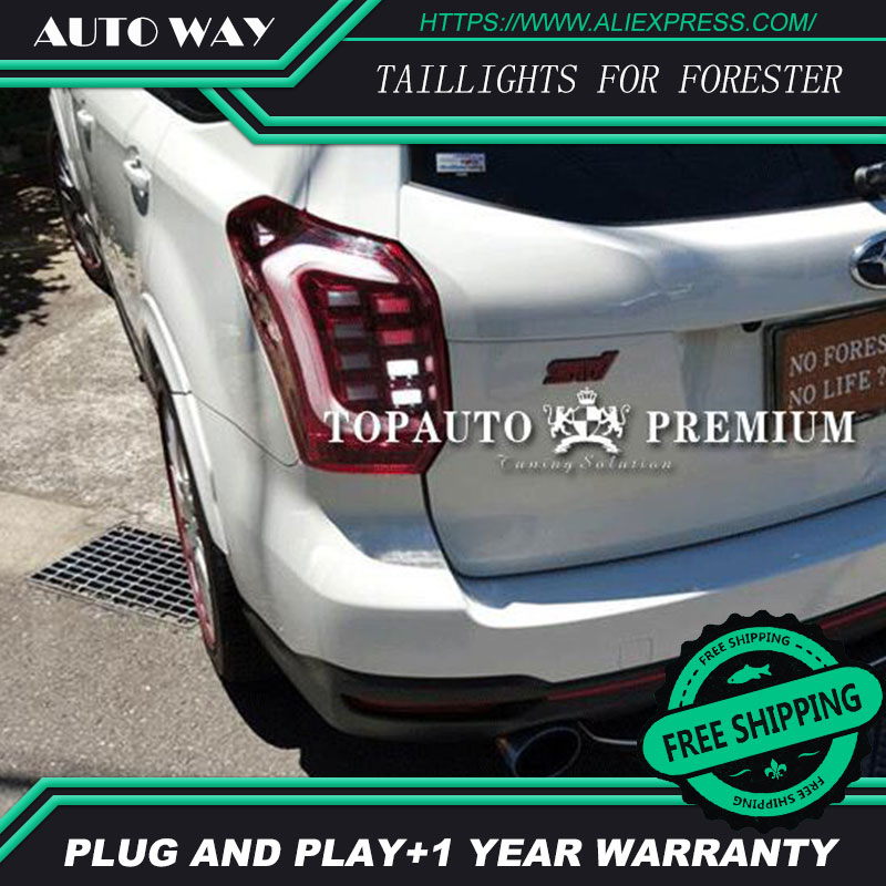 Car Styling tail lights for Subaru Forester 2014-2016 taillights LED Tail Lamp rear trunk lamp cover drl+signal+brake+reverse car styling tail lights for hyundai santa fe 2007 2013 taillights led tail lamp rear trunk lamp cover drl signal brake reverse
