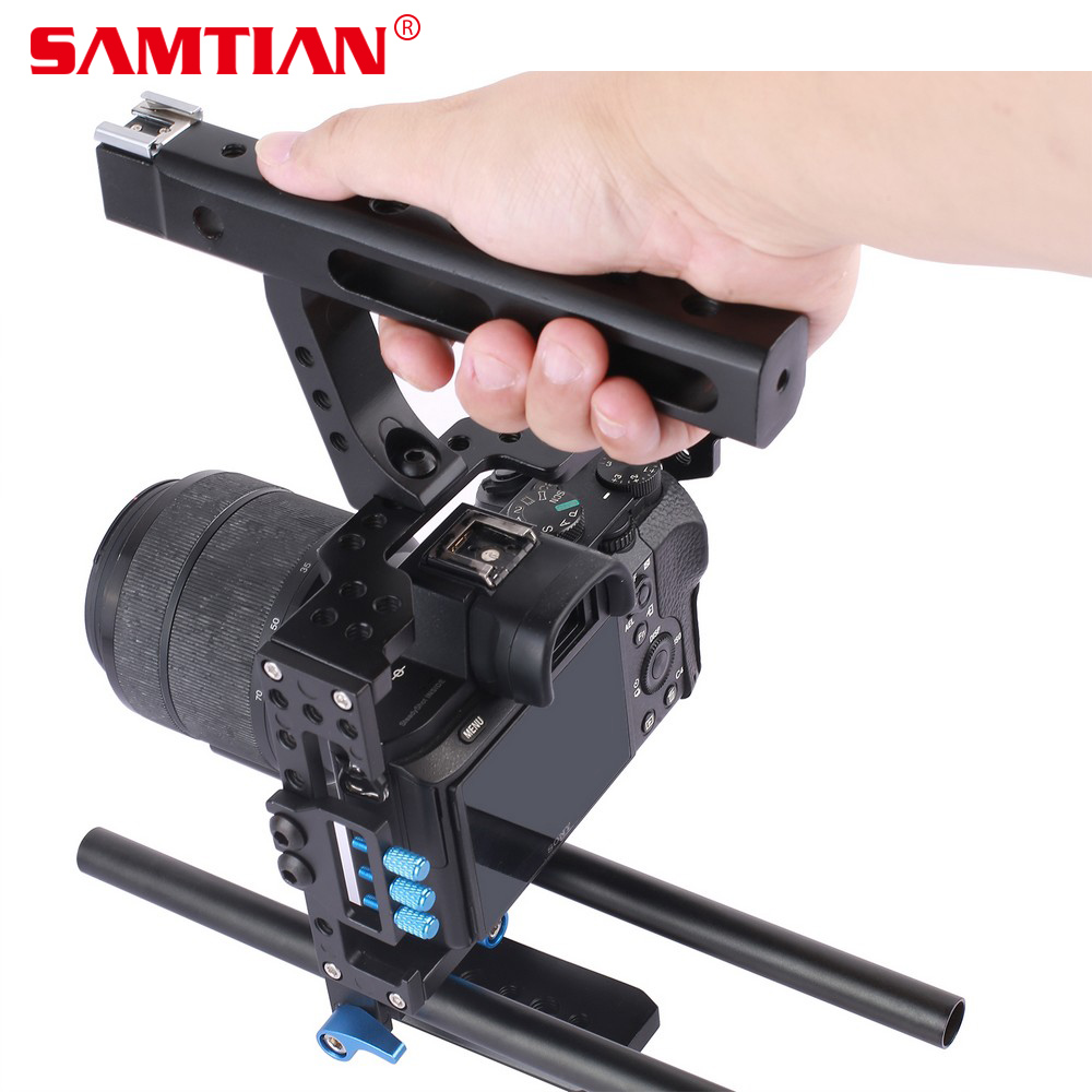 SAMTIAN 15mm Rod Rig DSLR Camera Video Cage Kit Top Handle Grip Follow Focus for Sony A7SII A7R A7S A7 A7RII Panasonic GH4 GH3 15mm rod rig dslr camera video cage kit stabilizer top handle grip for sony a7 ii a7r a7s a6300 a6000 panasonic gh4 gh3