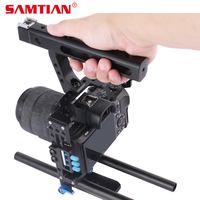 SAMTIAN 15mm Rod Rig DSLR Camera Video Cage Kit Top Handle Grip Follow Focus for Sony A7SII A7R A7S A7 A7RII Panasonic GH4 GH3