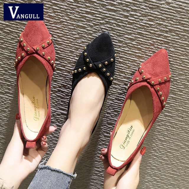 Vangull 2019 Flats Women Shoes Casual Cross Style Rivet Boat Shoes Woman Pointed Toe Ballerina Ballet Flat Slip on Shoes Fashion