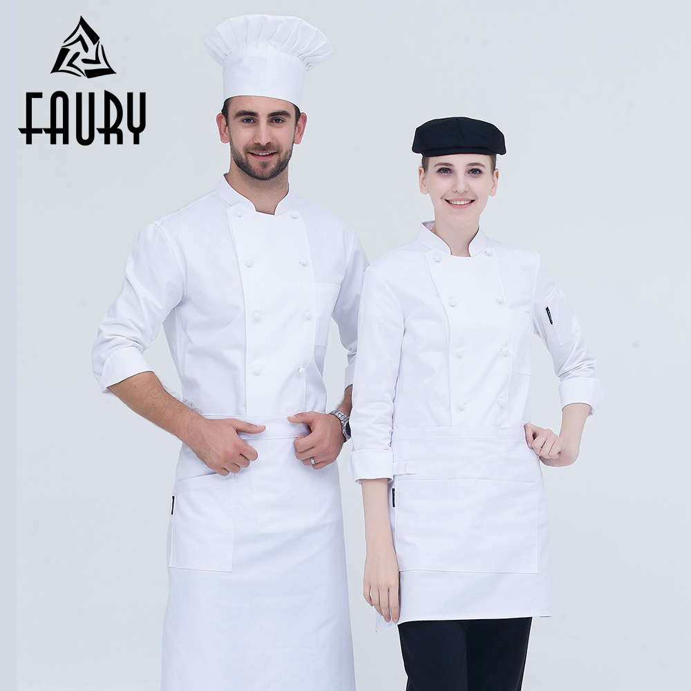 Unisex White Double Breasted Long-sleeved Wholesale Restaurant New Chef Work Uniforms Hotel Cafe Bakery Catering Cook Tops Coats
