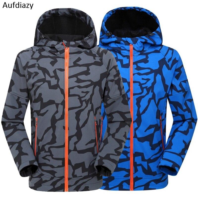 Aufdiazy Outdoor Sports Men Winter Autumn Softshell Jacket Camouflage Waterproof Coat Hiking Trekking Camping Male Jackets JM086