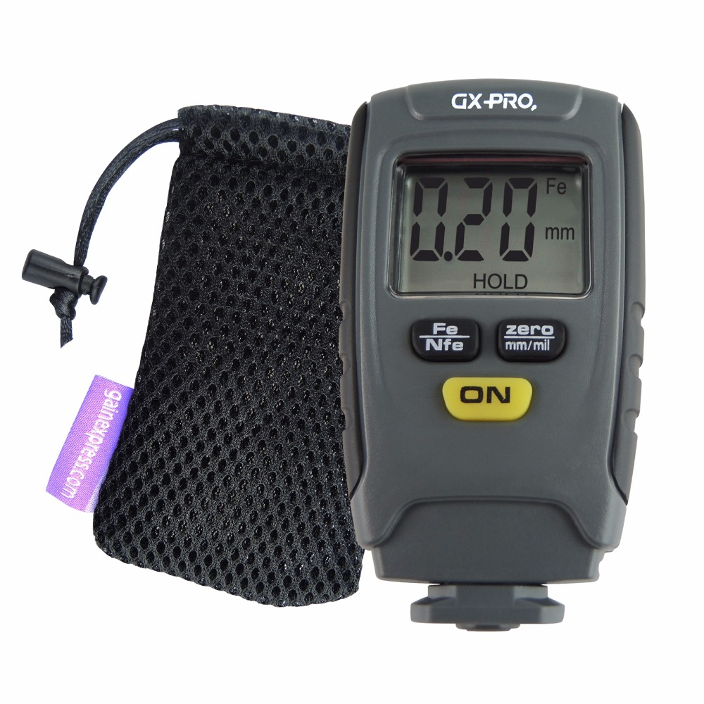 Paint Coating Thickness Tester Digital Gauge Meter Instrument 1.25mm Iron Aluminum Base Metal Car Automotive with Pouch