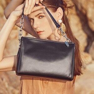 Image 5 - BRIGGS Chain Bag Crossbody Bags For Women Genuine Leather Shoulder Bag Flap Luxury Handbags Women Bags Designer black white