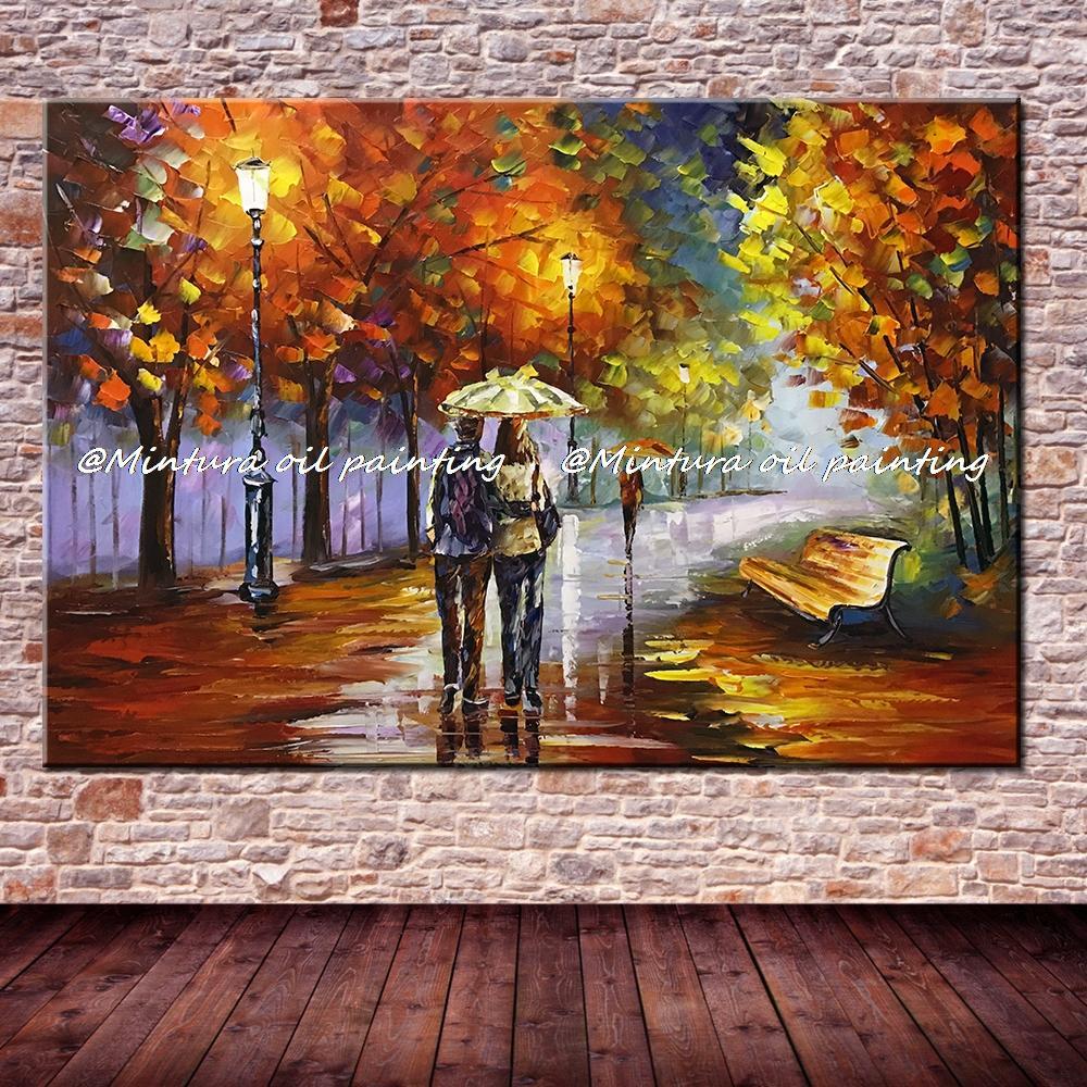 Большой расписанный вручную любовник дождь уличное дерево лампа пейзаж картина маслом на холсте настенные художественные настенные картины для гостиной домашний декор - Цвет: HY142127