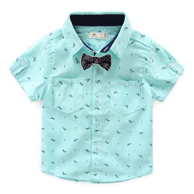 12811835f3ff 2016 Summer New baby boy shirt Boy Shirts Cotton shirt for boy Printed Wing  Bow -tie Kids Baby Blouse