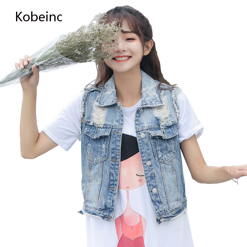 Kobeinc Women Denim Vests Sleeveless Ripped Colete Jeans Single Breasted Vintage Jackets Solid Washed All Match Casaco Feminino ...