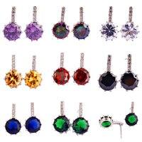 Amethyst Rainbow Topaz White Topaz Morganite Garnet Black Spinel 925 Stud Silver Earrings New Jewelry Free Shipping Wholesale