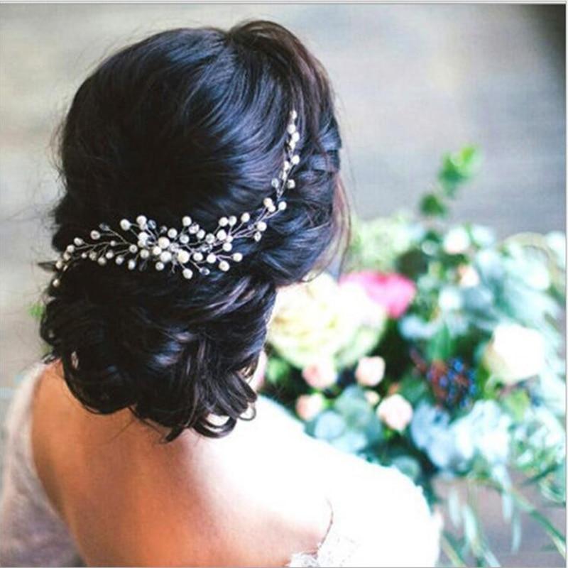 Femmes Cheveux Ornements Décoration De Mariage Cheveux Accessoires pour dans les Cheveux De Mariée Diadèmes Perle Peigne Cristal Casque Chef Bijoux