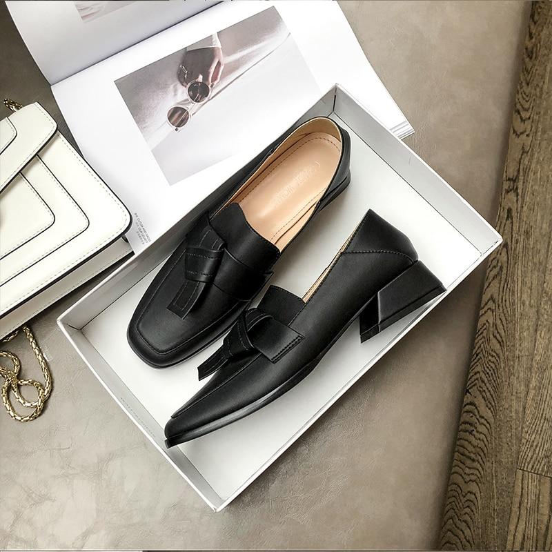 Trabajo Mujer Bowknot Tacones De Alta black 3 Rice Mujeres La Moda Cómodo Mocasines Cuadrado Cm Cuero Zapatos White Otoño Suave Las Pawz77qnZ