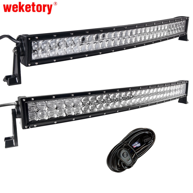 weketory 4D 5D 32 inch 300W Curved LED Work Light Bar for Tractor Boat OffRoad 4WD 4x4 Truck SUV ATV with Switch Wiring 12V 24v weketory 32 inch 300w 4d led work light bar for driving car tractor boat offroad 4wd 4x4 truck suv atv combo beam 12v 24v