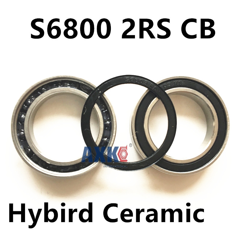 6800 2RS Size 10x19x5  ABEC7 Stainless Steel  Ceramic Ball Hybrid Bike Bearing s6800 2rs cb stainless steel hybrid ceramic ball bearing smr84 2rs cb abec7 4x8x3mm