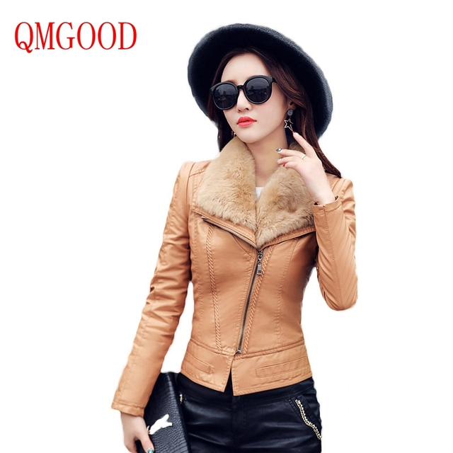 QMGOOD 2017 Fashion Fur Leather Jacket Women's Autumn Winter Coats PU Slim Jacket Plus Cashmere Artificial Leather Feminine Coat