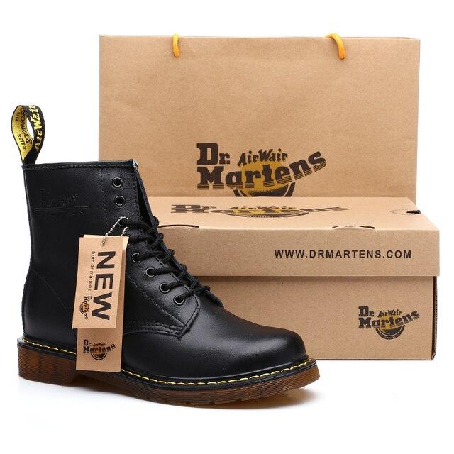 Genuine leather Men boots Dr. Martens Winter ankle boots fashion shoes Lace  Up Shoes For men high quality Vintage Mens shoes c2edc433e39f