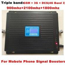 Yeni 23 dbm 65dbi tri-band GSM 900 1800 MHZ 2100 MHZ booster tekrarlayıcı 4g DCS tekrarlayıcı 3G güçlendirici gsm tekrarlayıcı GSM GÜÇLENDIRICI 4G bant 3