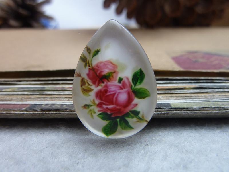 6pcs 18x25mm Handmade Photo Teardrop Glass Cabs Cabochons (Flower Rose) GDA3-25