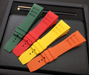 Image 5 - New 20mm Red White Black Green Gray Blue Yellow Orange Rubber Watchband  For Richard strap for RM011 Mille Bracelet watch band