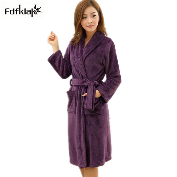 2018 New Bathrobe For Women Long Thickeing Flannel