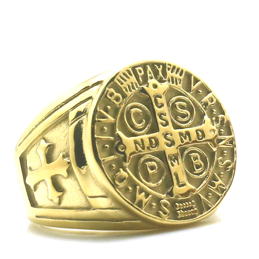 Audacious Newest Size 6 To Size15 Unisex Saint Benedict Of Nursia 316l Stainless Steel Golden Catholic Church Christianity Cross Ring