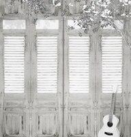Niestandardowe tkanina winylowa stare drzwi z drewna gitara kwiat drzewo pokój portret studio tła fotografia tło dla dzieci zdjęcia ślubne