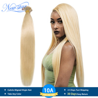 New Star Brazilian 613 Straight Hair Weaving 1/3/4 Platinum Bundles 100% Remy Human Hair 10A Honey Blonde Hair Extensions