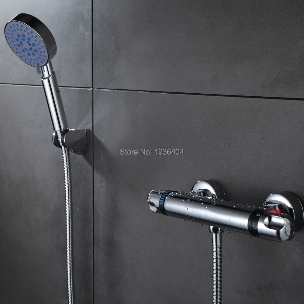 Shower Faucets thermostatic mixing valve Temperature Control Spool Shower Valve Mixer Tap Faucet Shower Wall Mounte Faucet TR519 polished chrome wall mount temperature control shower faucet set brass thermostatic mixer valve with handshower