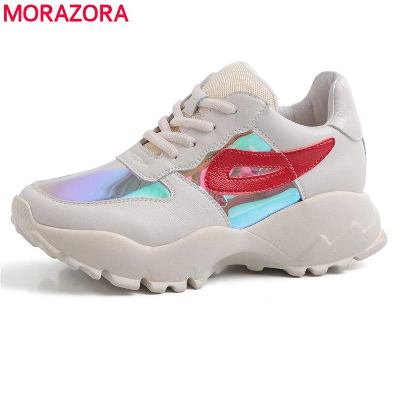 MORAZORA 2019 en cuir véritable plate-forme baskets femmes chaussures à lacets qualité printemps été chaussures décontractées femmes dames baskets