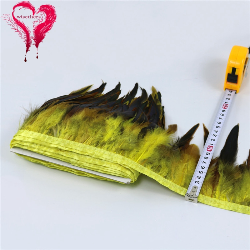 11 yellow rooster feather trims 5