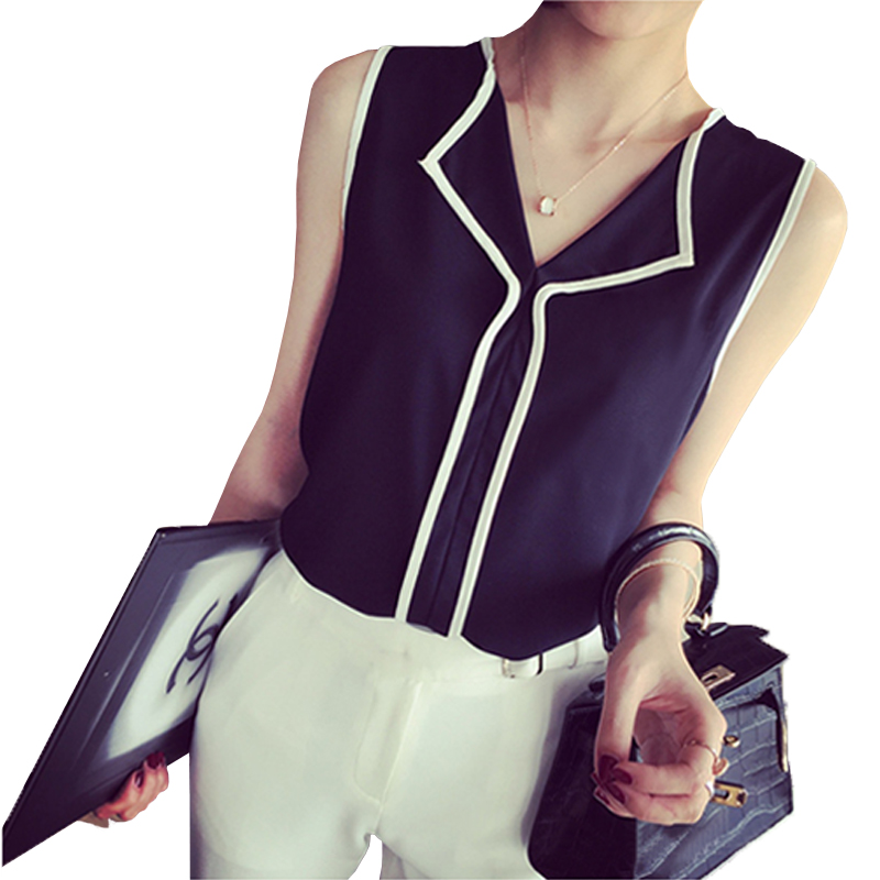 2020 Summer Fashion Womens Casual White V Neck Sleeveless Black Side Chiffon Blouse Shirt Work Wear Women Tops
