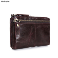 Maillusion Women Coin Purse 2016 Genius Leather Oil Wax Leather Vintage Zipper Coin Pouch Small Case