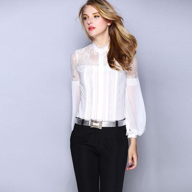 3c2f38f8e0368 White Black Hollow Out Lace Silk Blouses Women 2017 Spring Autumn Long  Sleeve Elegant Office Shirt Women Korean blusa feminina-in Blouses   Shirts  from ...