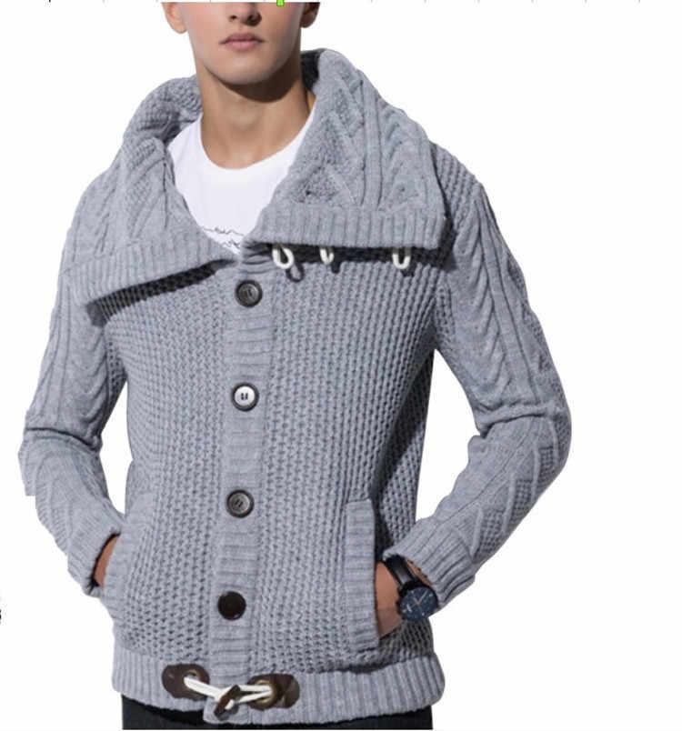 Erkek Balıkçı Yaka Yaka Triko Kış Moda Rahat Hırka Kazak Ceket Erkekler Gevşek % 100% Terylen Sıcak Örgü Kazak Mont