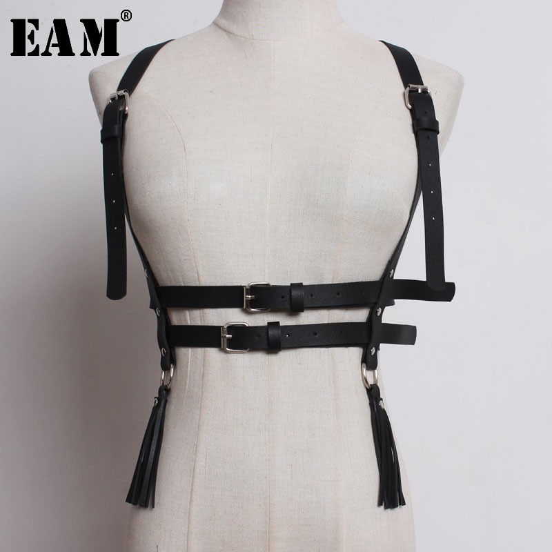 [EAM] 2020 New Spring Summer Strap Buckle Split Joint Personality 3 Colors Pu Lether Belt Women Fashion Tide All-match JO083