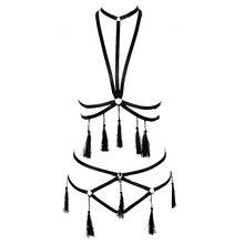 Reggiseno CABLAGGIO LASER Cupless Reggiseno in pelle catena in metallo top punk goth Rave Petto Cinghia