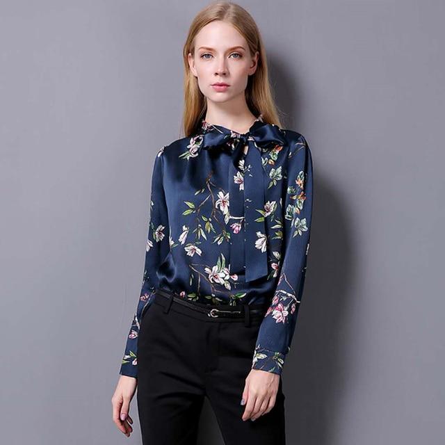 3482de1c8ab Женская 2018 новая рубашка из натурального шелка с воротником-стойкой