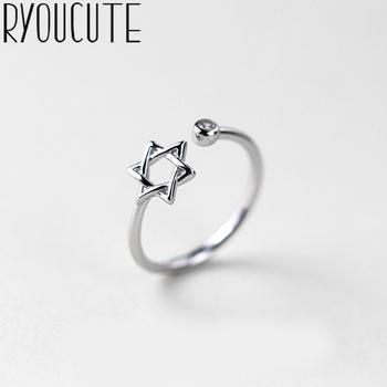 RYOUCUTE 100 prawdziwe srebro kolor biżuteria moda Big David gwiazda kryształowe pierścionki dla kobiet oświadczenie antyczny pierścionek Anillos tanie i dobre opinie CN (pochodzenie) Miedziane Kobiety Metal TRENDY Obrączki ślubne ROUND Zgodna ze wszystkimi Poprawiające nastrój Statement Rings