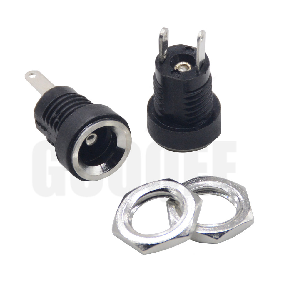 5/10PCS 3A 12V For DC Power Supply Jack Socket Female Panel Mount Connector 5.5mm 2.1mm Plug Adapter 2 Terminal Types 5.5*2.1