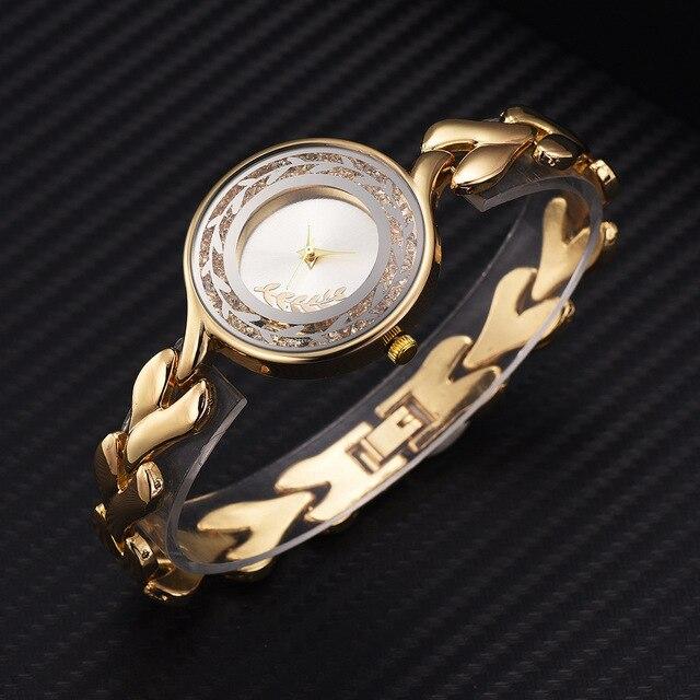 2019 Fashion Ethic Quartz Watch for Women New Product Printing Women Rhinestone Gold Watch Bracelet Watch