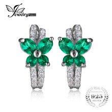 Jewelrypalace mariposa 1ct creado esmeralda nano ruso clip en los pendientes de plata esterlina del sólido 925 nuevo regalo para las mujeres