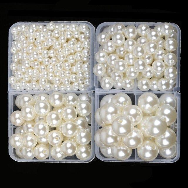 4mm-20mm droite trous blanc ivoire ronde imitation en plastique perle perles pour bijoux accessoires Perles & Bijoux faire