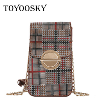 TOYOOSKY 2018 Women Messenger Bags High Quality Women Plaid Bags Designer Chain Crossbody Bags For Women