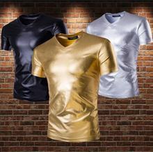 personalized fashion shirt men Punk Gold and silver Slim Short sleeve V-neck Hot stamping shirts mens singer