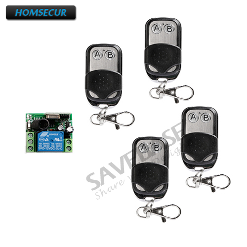 HOMSECUR Wireless Remote Control with 1pcs Receiver and 4pcs Remote Control For Access Control System